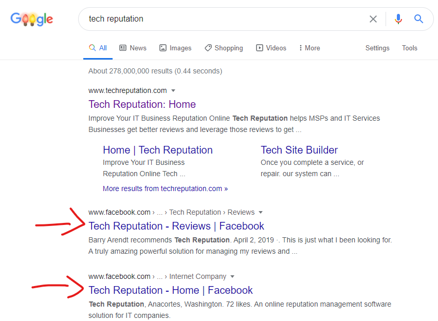 Tech Reputation SEO Example for Business Reputation
